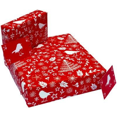 Eco-Friendly Design wrapping paper - Christmas Scandi Red Robins