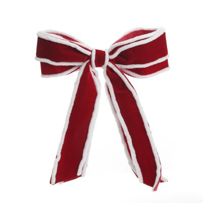 Red Velvet Christmas Bow with Fur Trim