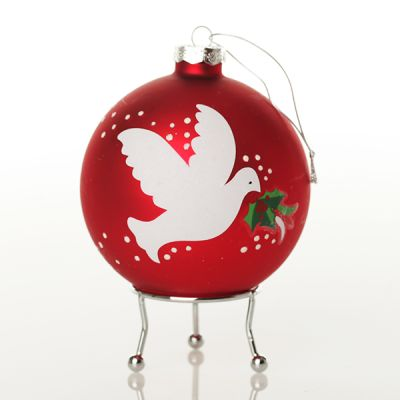 Red Peace Doves Christmas Bauble