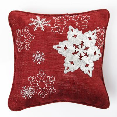 Red Snowflake Cushion Cover