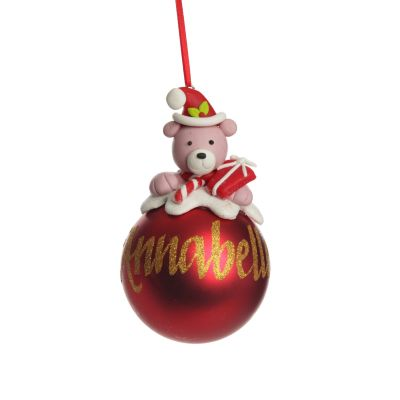 Red Teddy Christmas Character Bauble