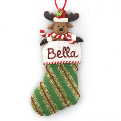 Reindeer in Glitter Stocking Hanging Ornament