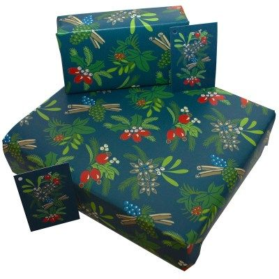 Eco-Friendly Design wrapping paper -  Christmas Cinnamon and Berries