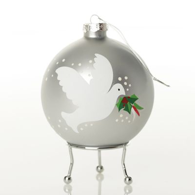 Silver Peace Doves Christmas Bauble Side Right side detail