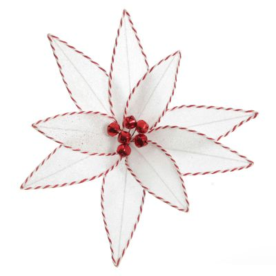 White Glitter Poinsetta Flower Clip with Twine Trim and Bells