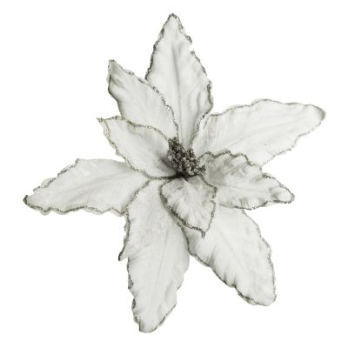 White Poinsettia Flower Pick with Silver Glitter Trim