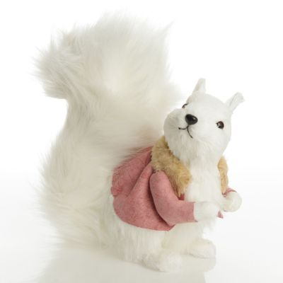 White Squirrel with Bushy Tail and Pink Jacket