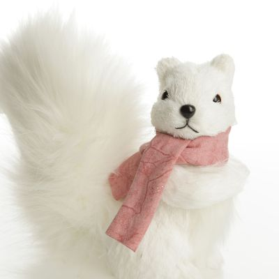 White Squirrel with Bushy Tail and Pink Scarf