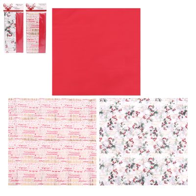 Assorted Christmas Tissue Paper - Plain Red and Words - 8 Pack