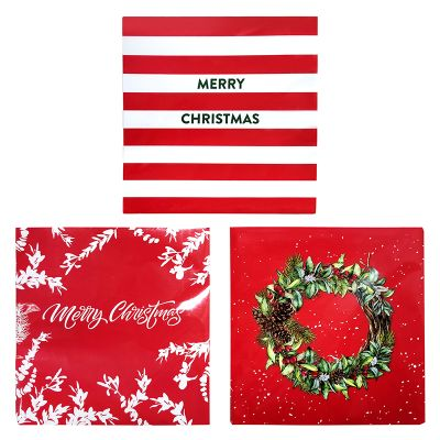60 x Red and White Variety Christmas Paper Napkins