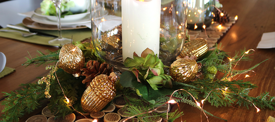 fresh forest christmas table centerpiece