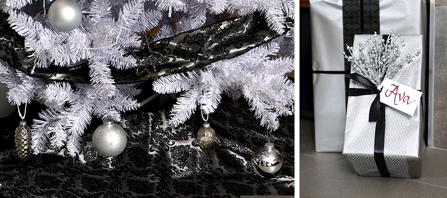 luxe christmas tree skirt and gift