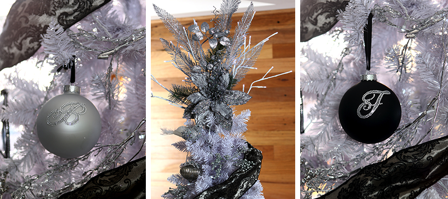 luxe christmas bling baubles and tree topper