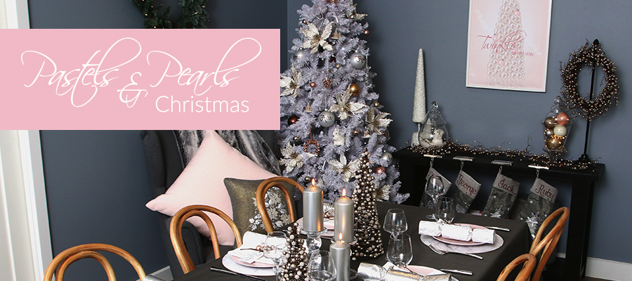 pastels and pearls christmas theme