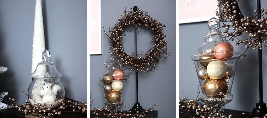 pastels and pearls christmas side table decoration