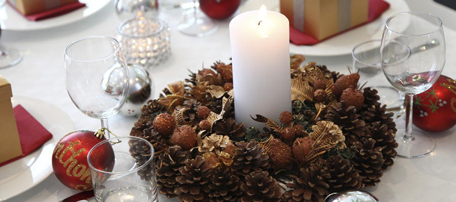 christmas wreath table centrepiece