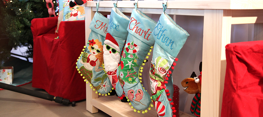 merry and bright banner stocking
